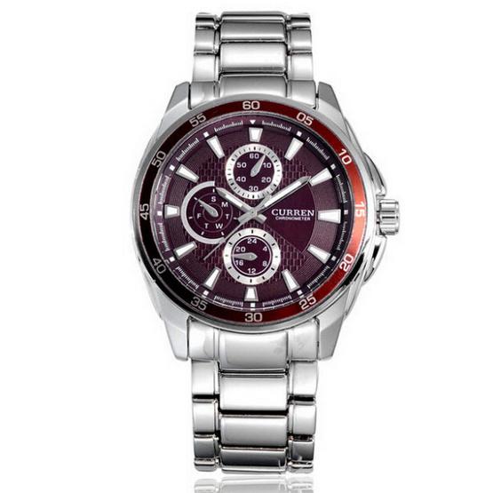 CURREN นาฬิกาข้อมือ รุ่น 8076 สีเงิน/แดง