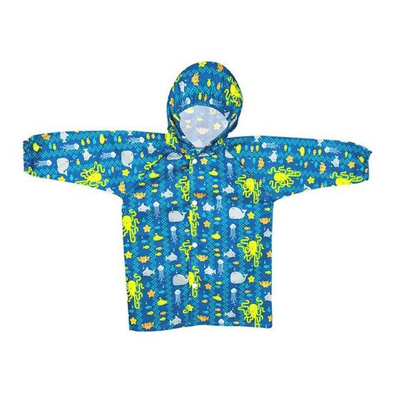 Bumkins เสื้อกันฝน สำหรับเด็ก 1-2 ขวบ สีน้ำเงิน ลาย Sea Friends