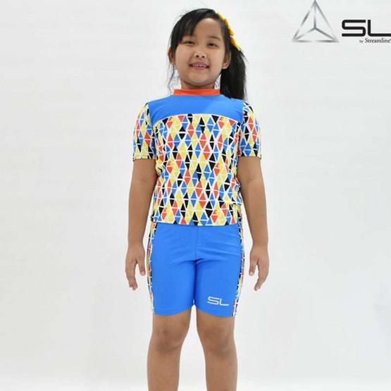 STREAMLINE 1 ชิ้น เสื้อแขนสั้น กางเกงขาสั้น สีฟ้า ซันสกรีน