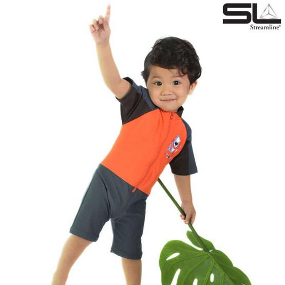 STREAMLINE 1 ชิ้น เสื้อแขนสั้น กางเกงขาสั้น สีส้ม-เทา ซันสกรีน