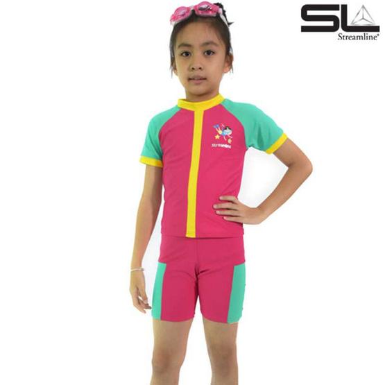 เสื้อแขนสั้น กางเกงขาสั้น สีชมพู ซันสกรีน