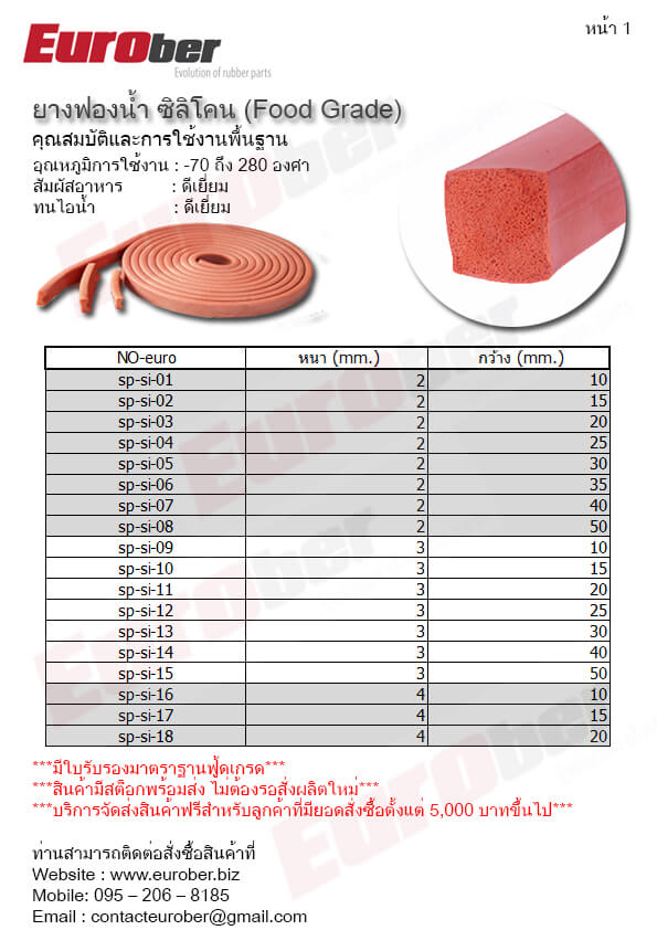 ยางซีลกันลามไฟสินค้า Product Flame Retardant Resistant Seals Rubber UL94
