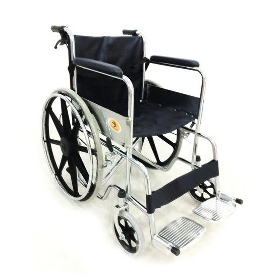 KTHealth รถเข็นผู้ป่วย พับได้ชุบโครเมี่ยม ล้อแม็ก 24 นิ้ว มีเบรคมือ สีดำ รุ่น KT905B