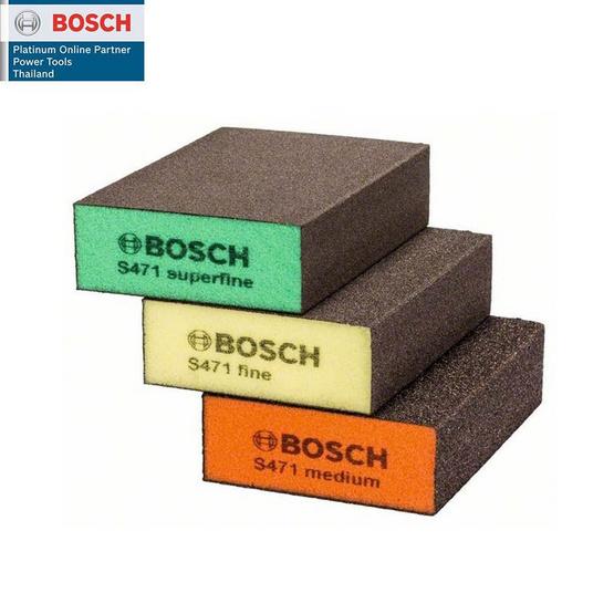 BOSCH ฟองน้ำขัดเหลี่ยมหนา (3 ชิ้น/แพค)