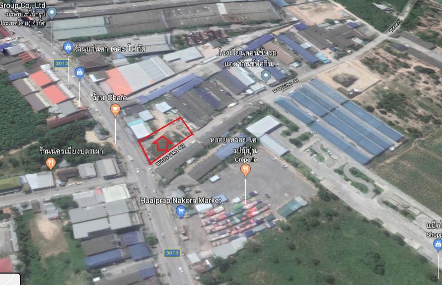ขายที่ดิน ห้วยปราบ บ่อวิน พื้นที่ 1 งาน 22 ตร.ว หน้ากว้าง 40ม.ติดถ.หมายเลข 3013 ใกล้ห้างแมคโครบ่อวิน