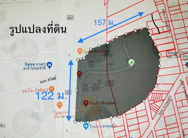 ขายที่ดิน ทำปั๊มน้ำมัน ทำโชว์รูมรถ หน้ากว้าง 122 เมตร  ติดถนนกรุงเทพ - ปทุมธานี ทางหลวง307