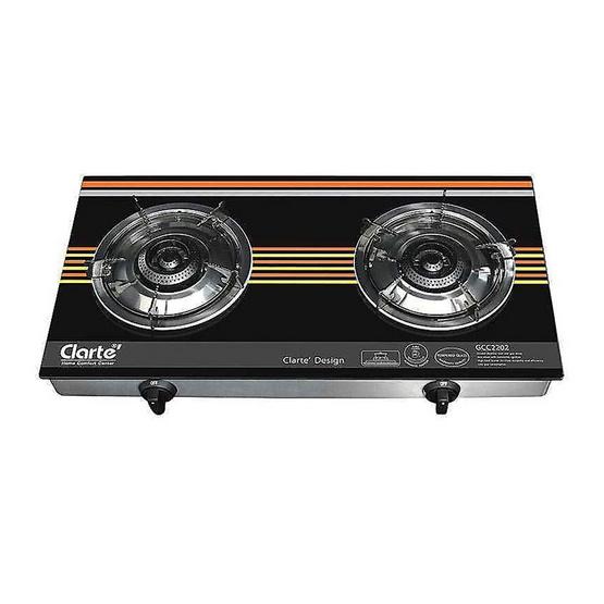 Clarte เตาแก๊สหัวเหล็กหล่อรมดำ ชนิด 2 หัวเตา GCC2202