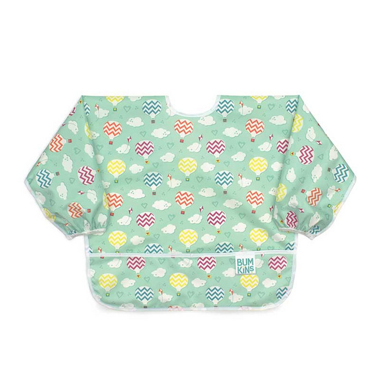 Bumkins ผ้ากันเปื้อนกันน้ำแขนยาว รุ่น Sleeved Bib สีเขียว ลาย Balloon สำหรับอายุ 6-24 เดือน
