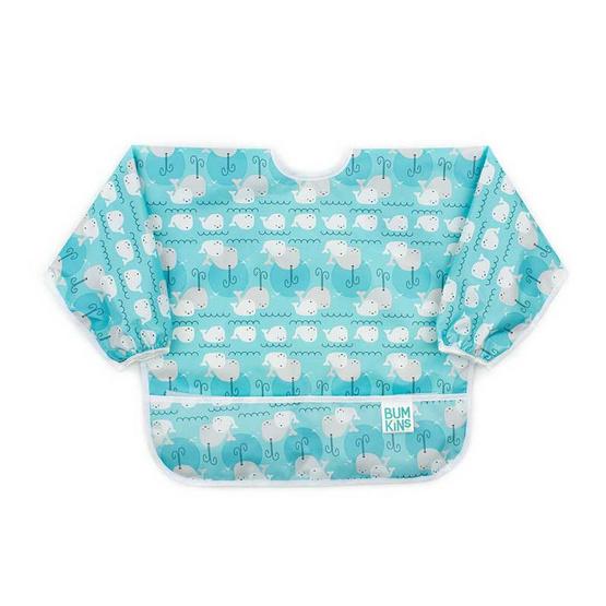 Bumkins ผ้ากันเปื้อนกันน้ำแขนยาว รุ่น Sleeved Bib สีฟ้า ลาย Whales สำหรับอายุ 6-24 เดือน