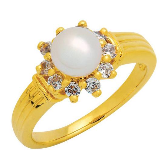 Trendy Diamond แหวน มุกล้อมเพชร หุ้มทองแท้ ไซส์ 50