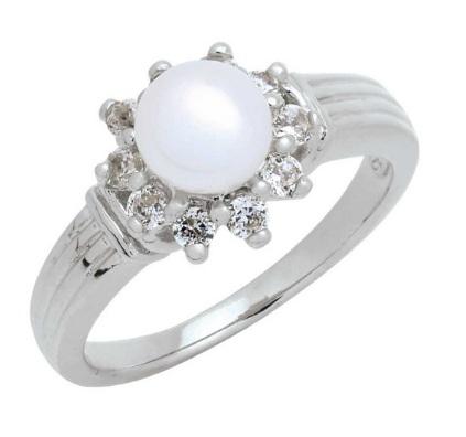 Trendy Diamond แหวนมุกล้อมเพชร หุ้มทองคำขาว ไซส์ 48