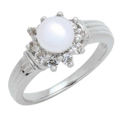 Trendy Diamond แหวนมุกล้อมเพชร หุ้มทองคำขาว ไซส์ 58