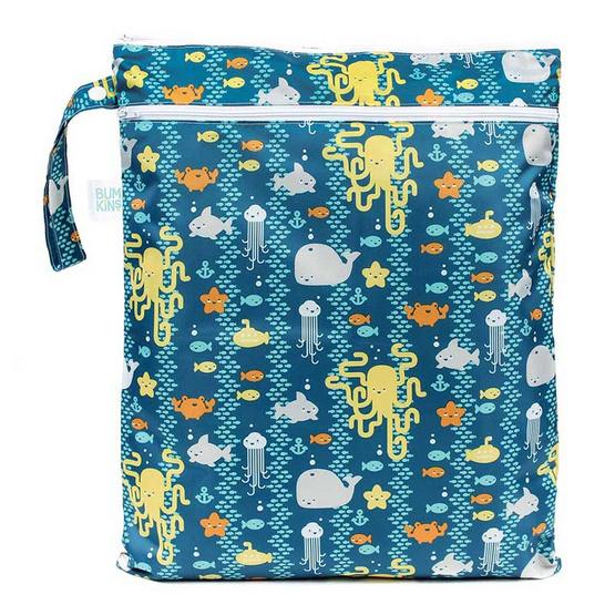 Bumkins ถุงผ้ากันน้ำ 2 ช่อง รุ่น Wet Dry Bag สีเขียว ลาย Whales
