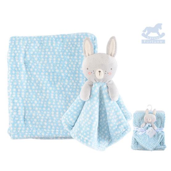 Luvena Fortuna ผ้าห่ม + ผ้ากอดหัวตุ๊กตาสัตว์ ลาย กระต่ายสีฟ้าจุด